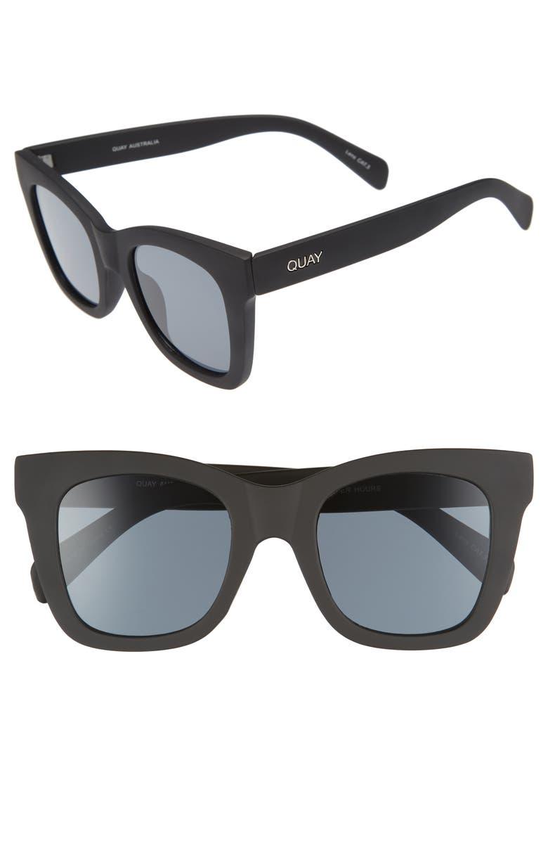 QUAY AUSTRALIA After Hours 50mm Polarized Square Sunglasses, Main, color, BLACK SMOKE