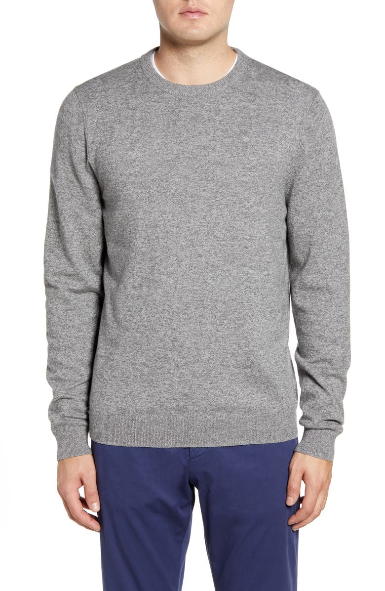 NORDSTROM MEN'S SHOP Cotton & Cashmere Crewneck Sweater, Main, color, GREY SHADE MARL