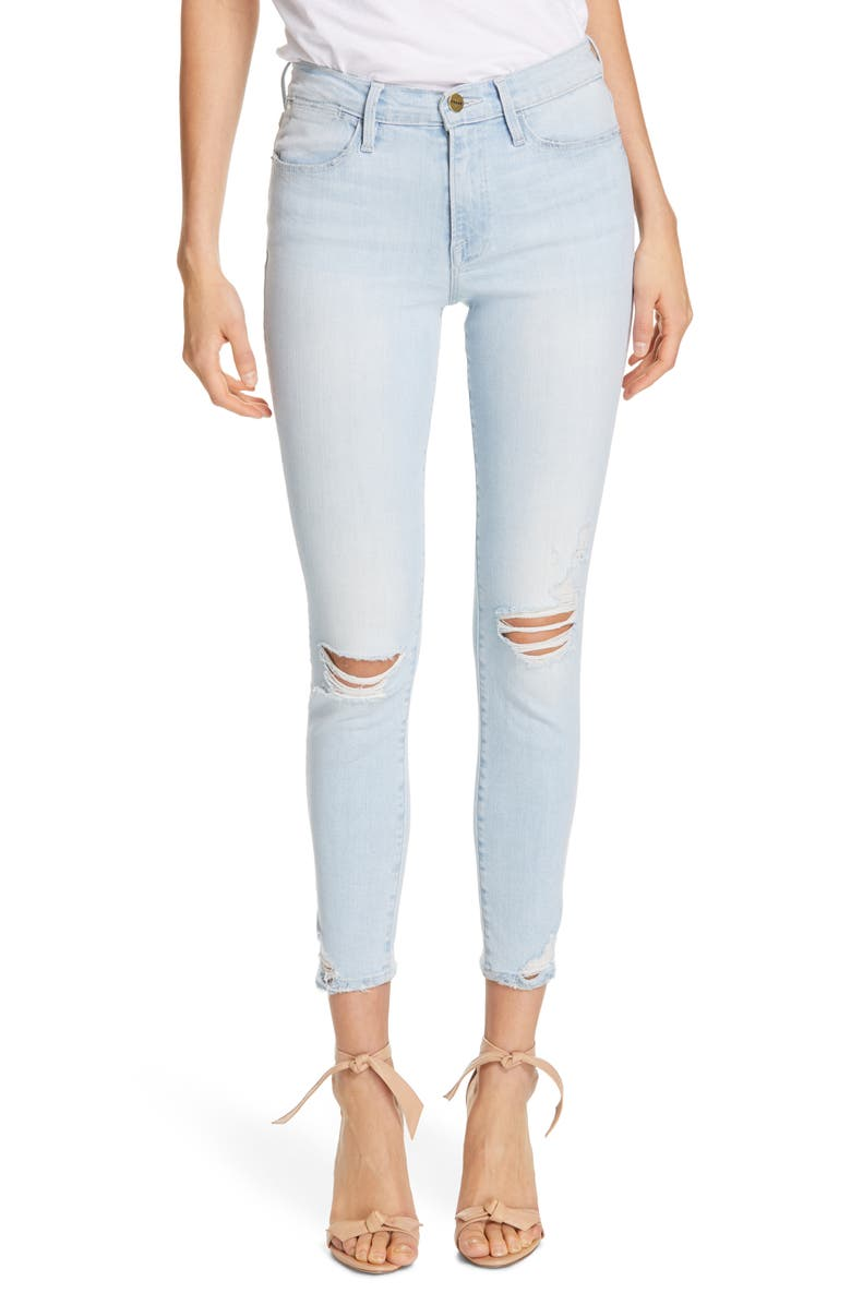 FRAME Le High Ripped Ankle Skinny Jeans Rush