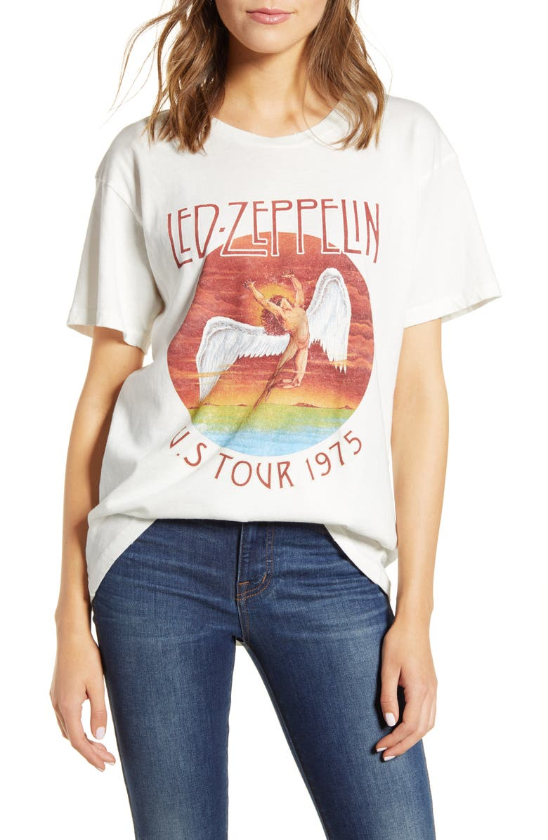 DAYDREAMER Led Zeppelin 1975 North American Tour Tee, Main, color, VINTAGE WHITE