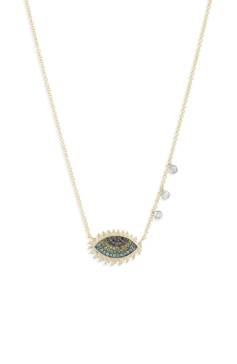 MEIRA T Evil Eye Diamond Pendant Necklace, Main, color, YELLOW GOLD