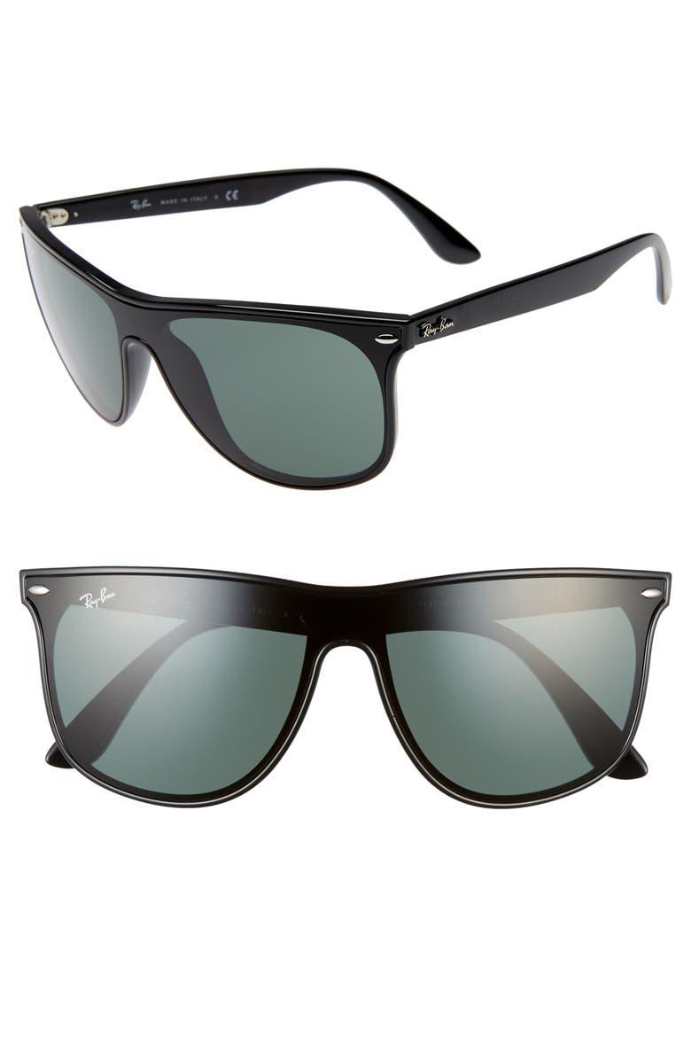 RAY-BAN Blaze 55mm Sunglasses, Main, color, BLACK