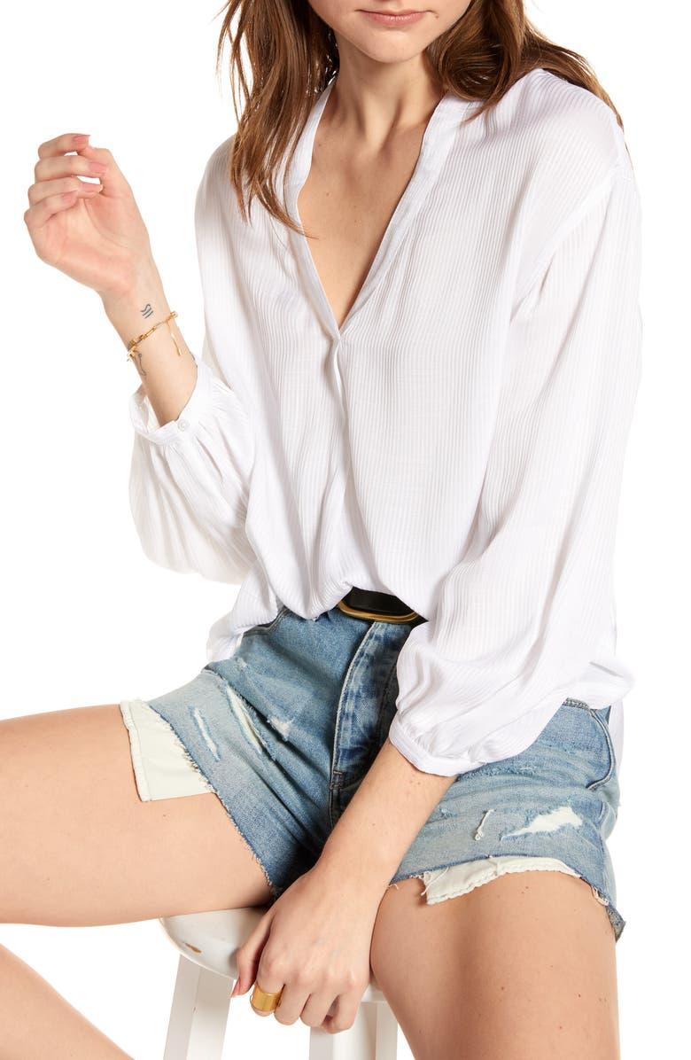 TREASURE & BOND Shadow Stripe Popover Top, Main, color, WHITE
