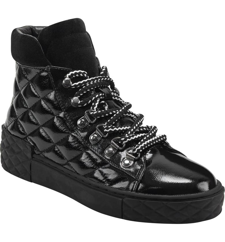 MARC FISHER LTD Dulce Lace-Up High Top Sneaker, Main, color, BLACK PATENT LEATHER