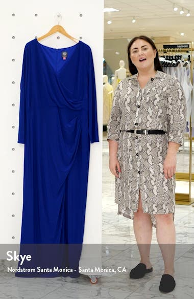 Long Sleeve Ruched Knit Gown, sales video thumbnail