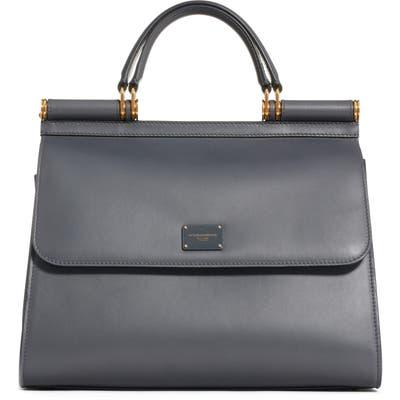 Dolce & gabbana Sicily 58 Leather Satchel With Shoulder Strap - Grey