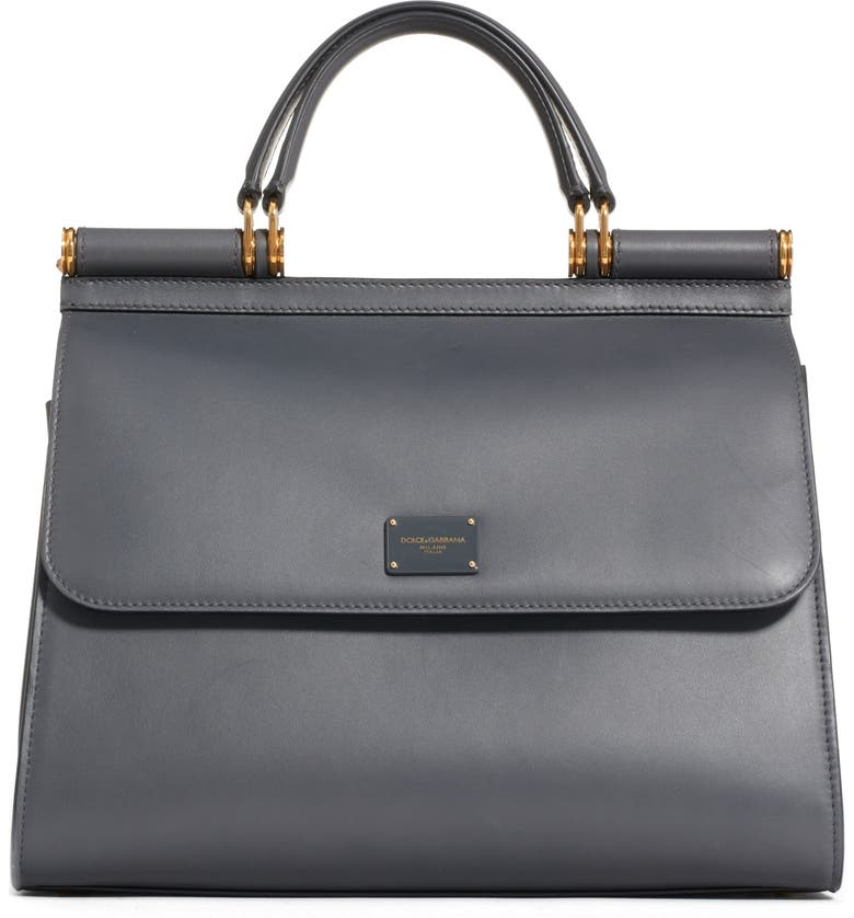DOLCE&GABBANA Sicily 58 Leather Satchel with Shoulder Strap, Main, color, GRIGIO SCURO