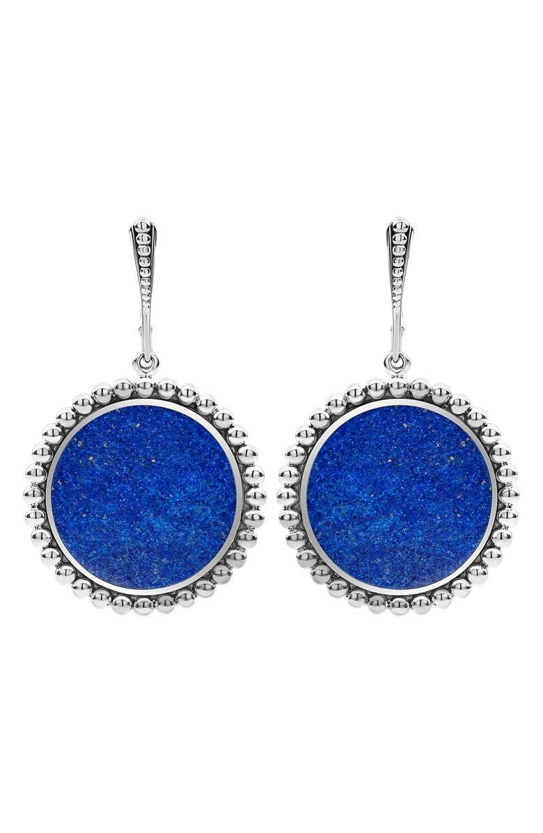 LAGOS Maya Circle Drop Earrings, Main, color, SILVER/ LAPIS