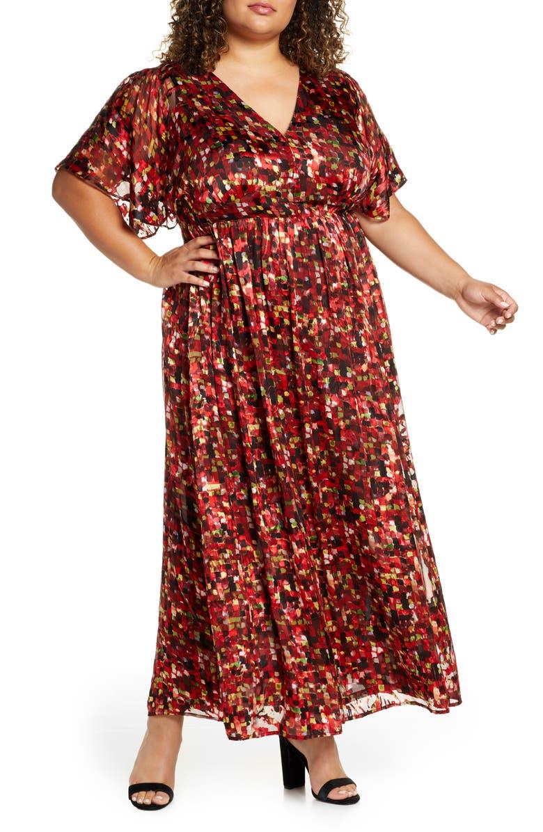 MARÉE POUR TOI Flutter Sleeve Maxi Dress, Main, color, RED