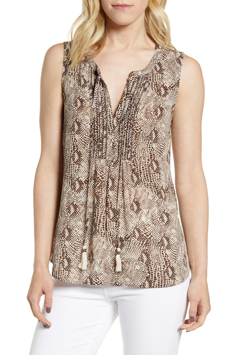DANIEL RAINN Snakeskin Print Sleeveless Top, Main, color, BROWN