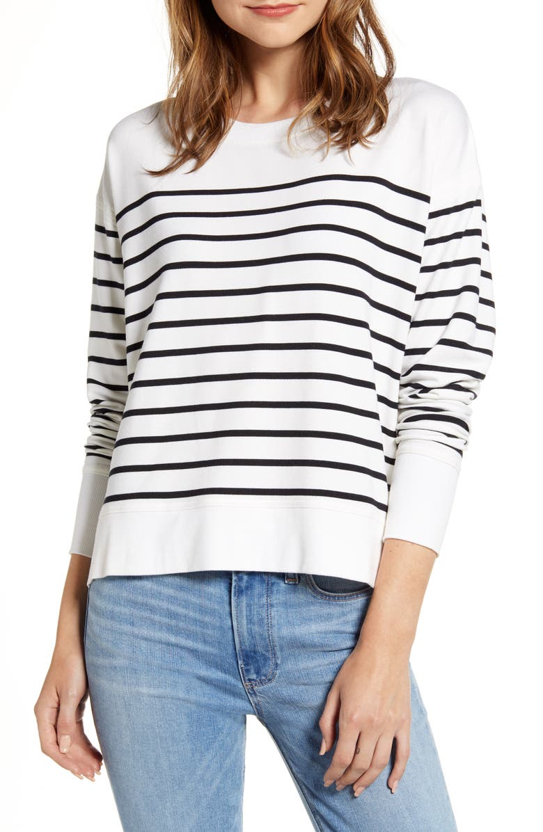 VINEYARD VINES Stripe Crewneck Sweatshirt, Main, color, WHITE CAP