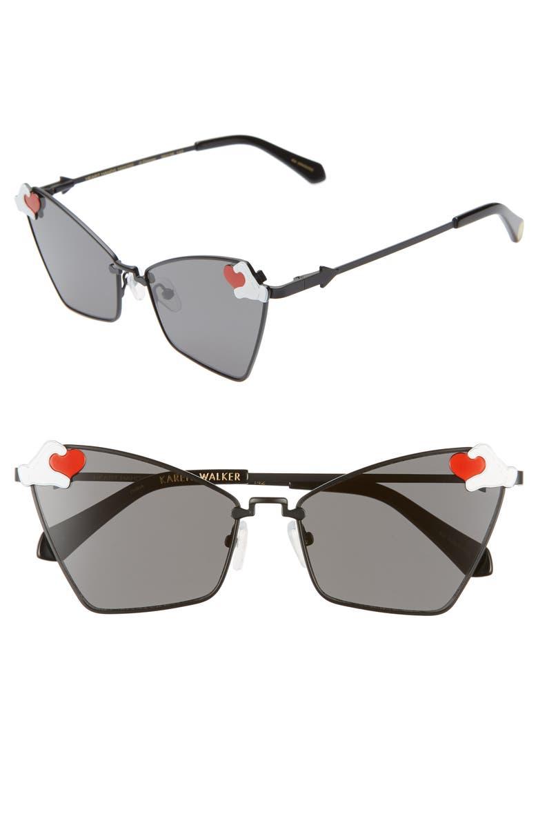 KAREN WALKER x Disney Mickey Mouse Heart Hands 58mm Cat Eye Sunglasses, Main, color, 001