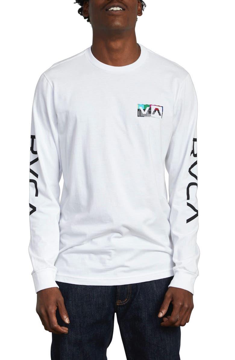RVCA Testing Long Sleeve T-Shirt, Main, color, WHITE