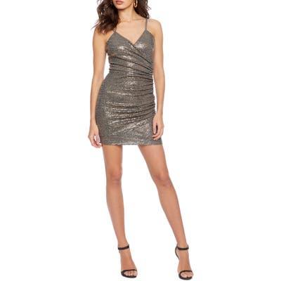 Cosmopolitan Dress The Population Xoxo Ruched Body-Con Minidress, Metallic
