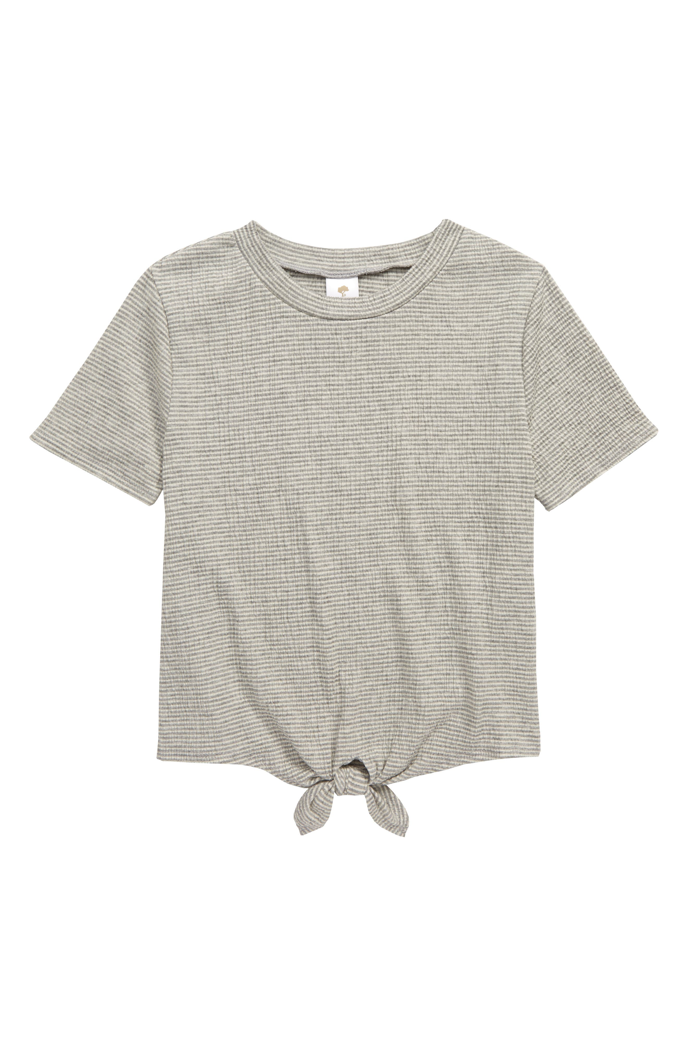 A knotted hem adds understated casual charm to this essential crewneck tee in a textured knit. Style Name: Tucker + Tate Knot Hem T-Shirt (Big Girl). Style Number: 6041810. Available in stores.