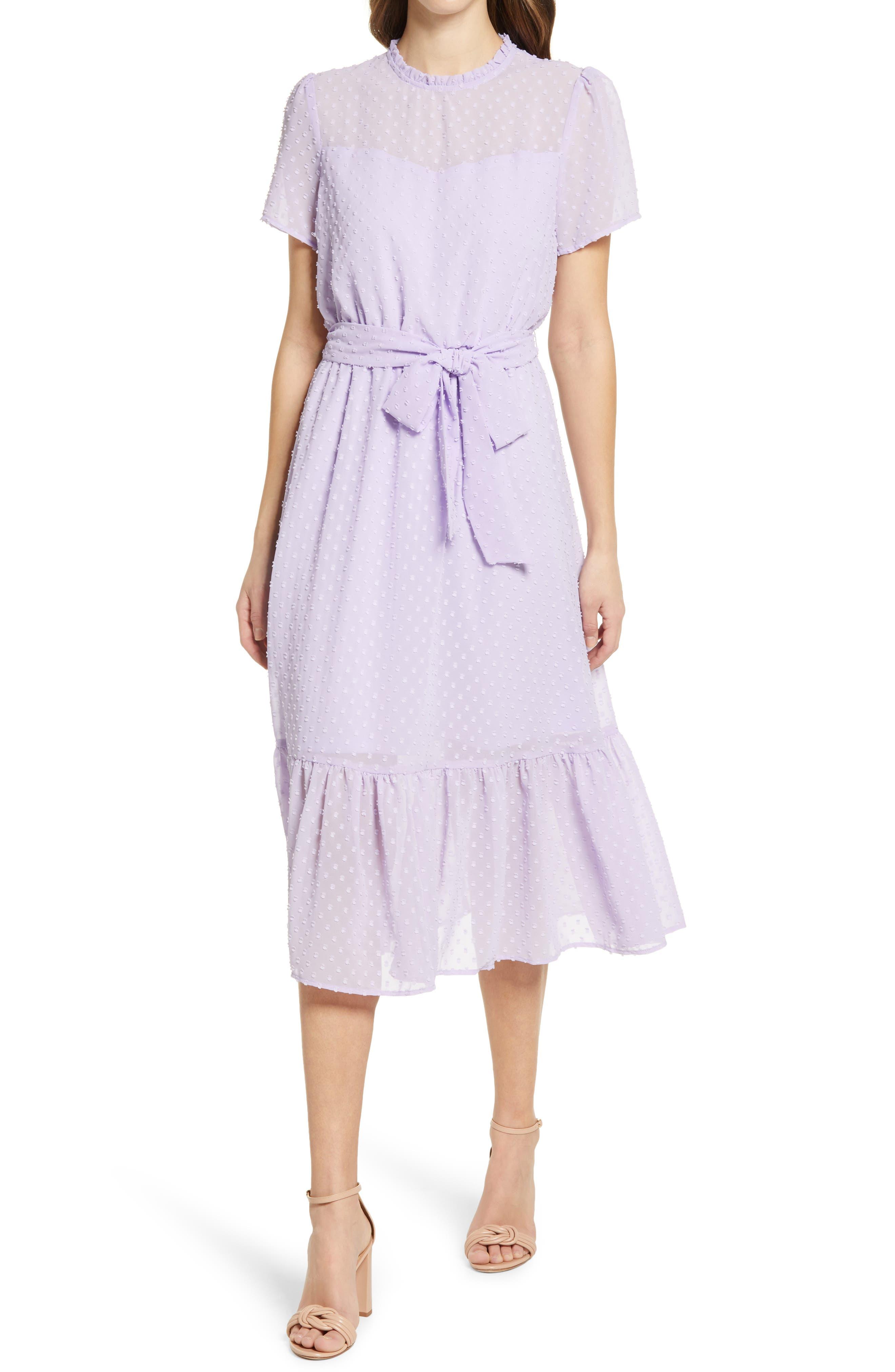 Belted Swiss Dot Midi Dress