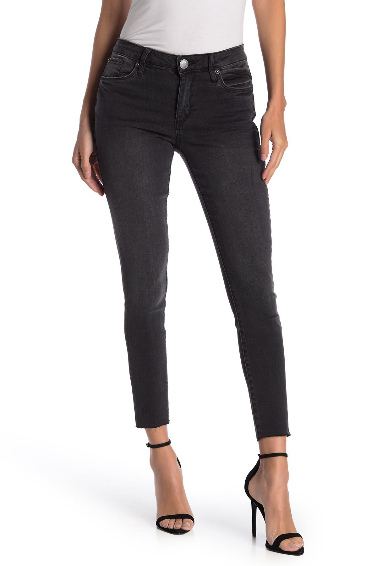 Image of STS BLUE Emma Mid Rise Raw Hem Skinny Jeans