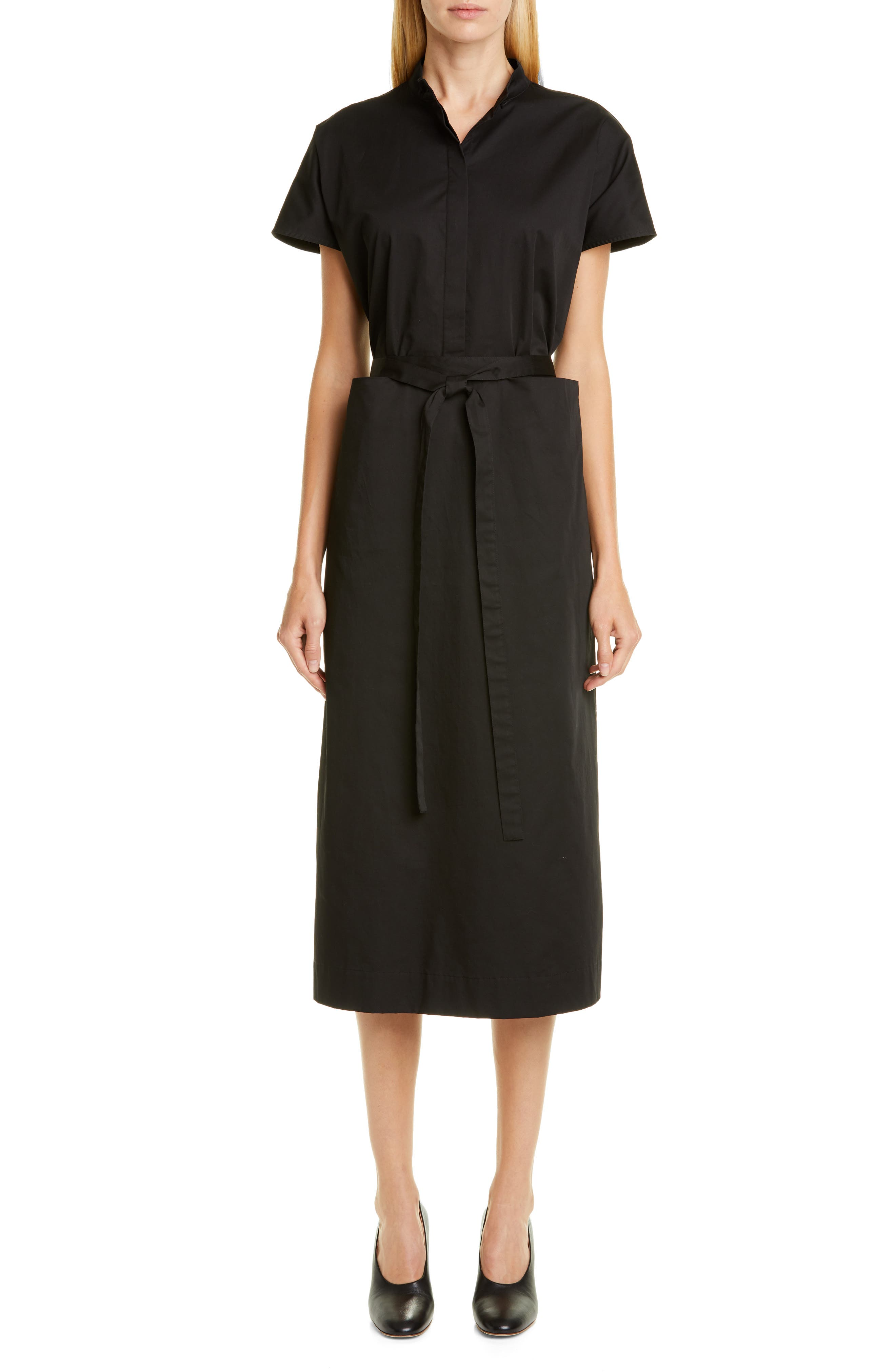 Co Belted Cotton Shirtdress, Black