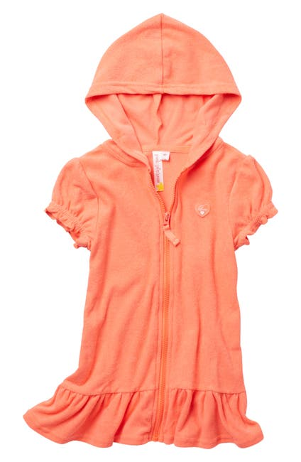 Image of Pink Platinum Puff Sleeve Front Zip Terry Cover Up