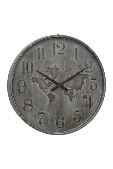 "Image of Willow Row 28"" Large Industrial Gray Metal Round Wall Clock"