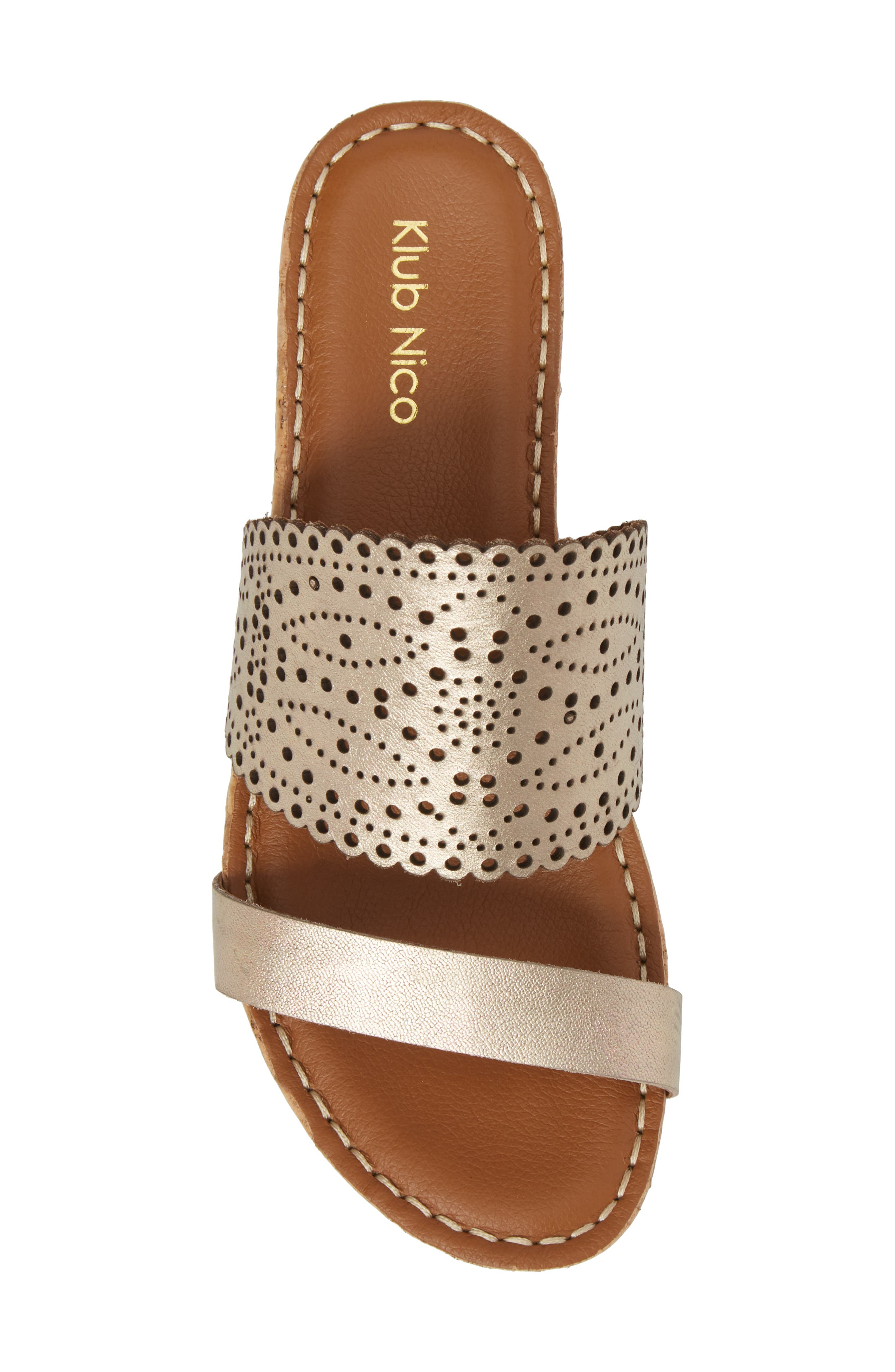,                             Ginette Perforated Slide Sandal,                             Alternate thumbnail 5, color,                             PEWTER LEATHER