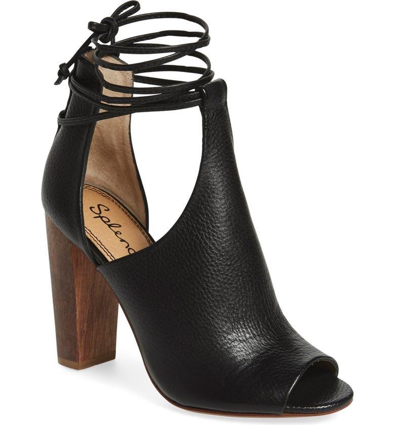 SPLENDID 'Jaylen' Peep Toe Bootie, Main, color, BLACK LEATHER