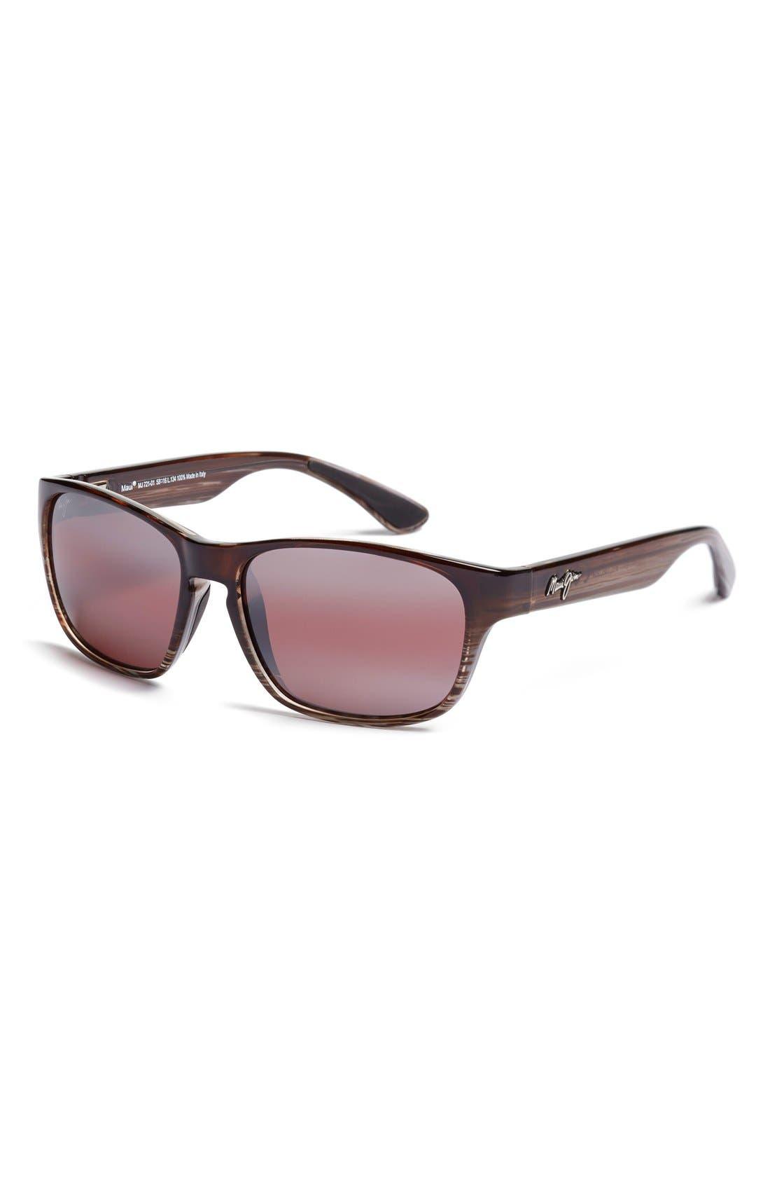 'Mixed Plate - PolarizedPlus<sup>®</sup>2' 58mm Sunglasses, Main, color, CHOCOLATE STRIPE/ MAUI ROSE