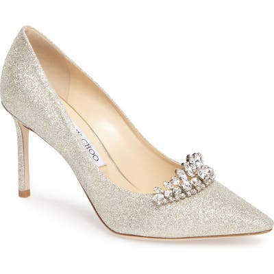 Jimmy Choo Romy Crystal Embellished Pump, Metallic