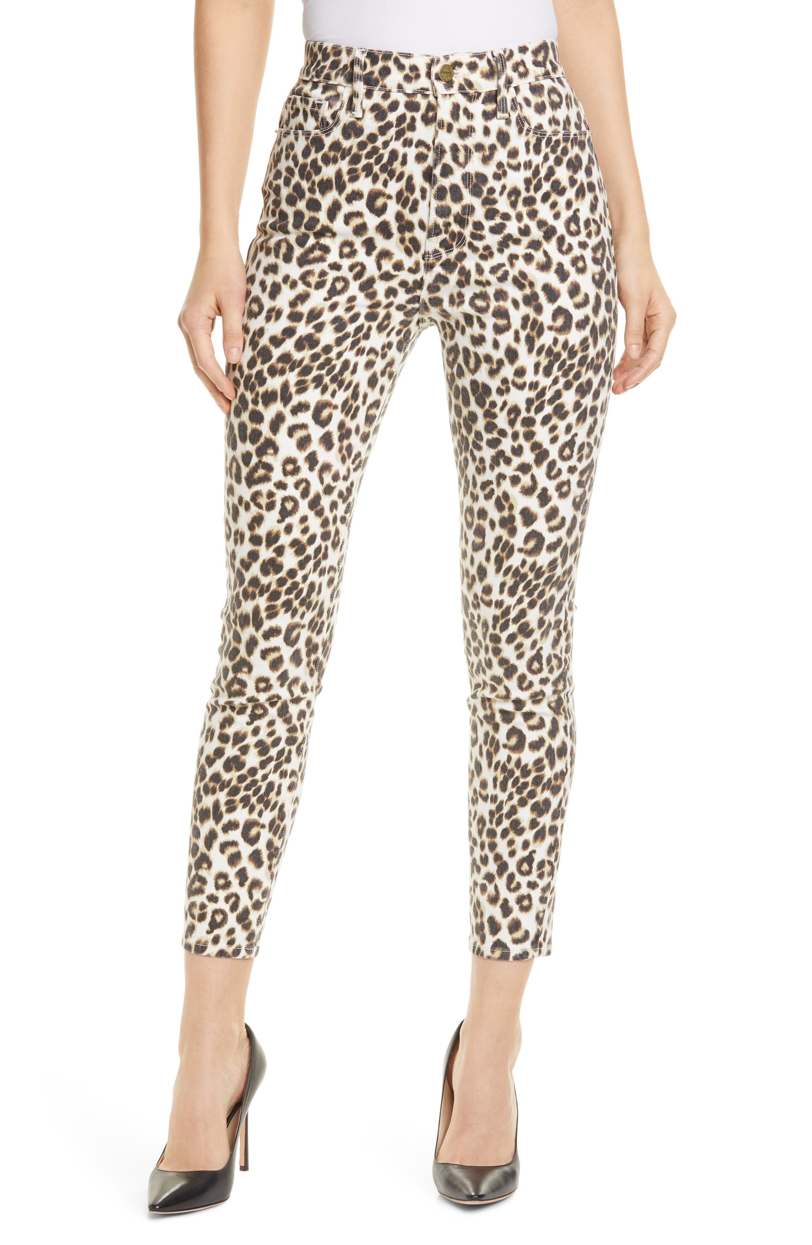 FRAME Ali Leopard Print High Waist Crop Skinny Jeans (Beige Multi)