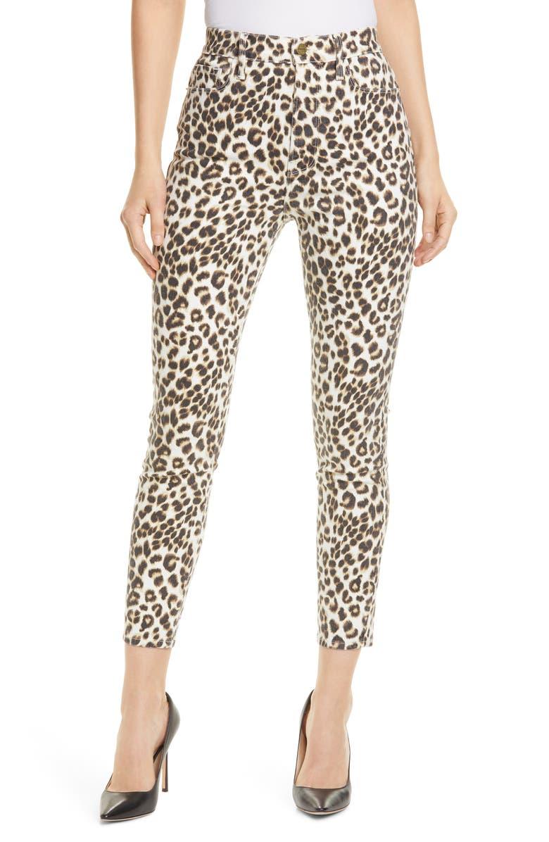 FRAME Ali Leopard Print High Waist Crop Skinny Jeans, Main, color, BEIGE MULTI