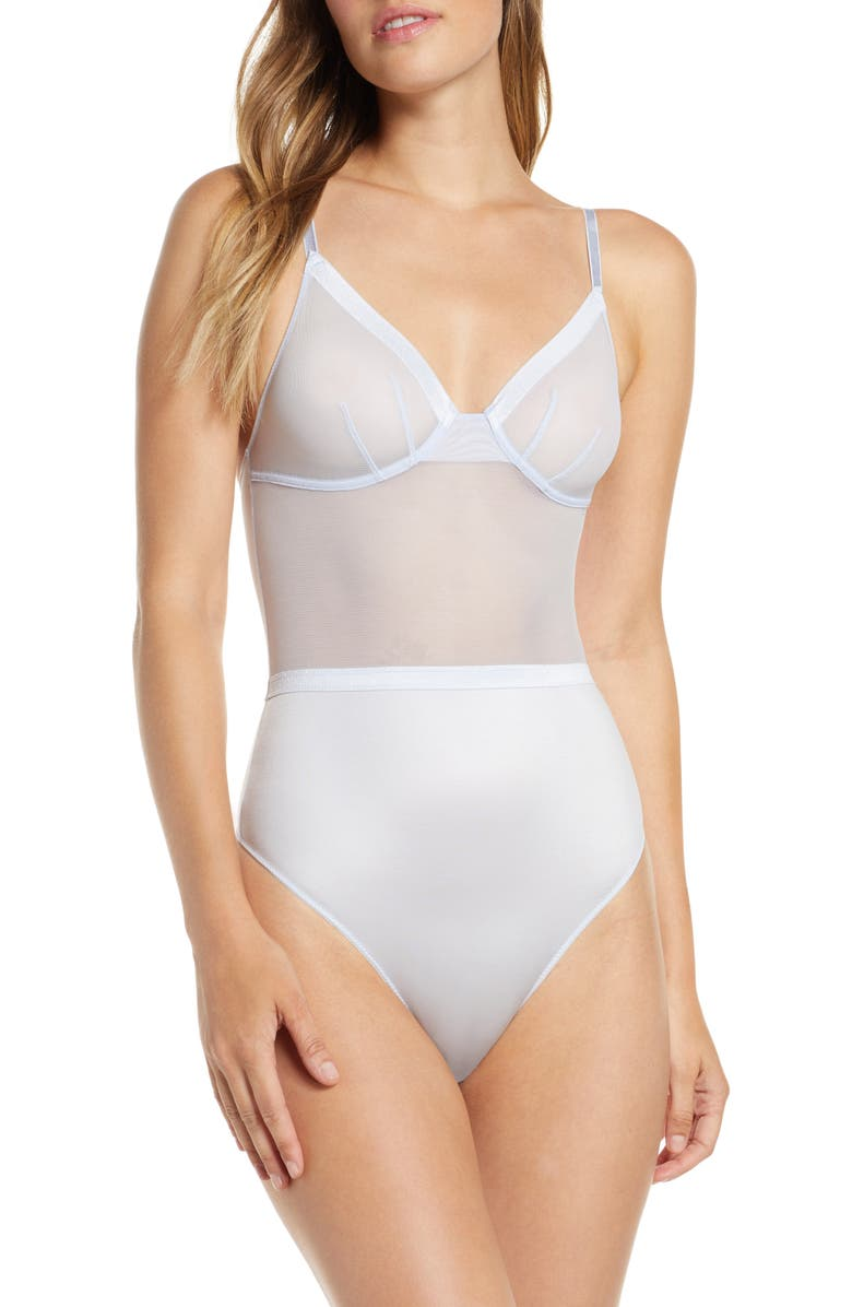 JASON WU Mesh Banded Underwire Thong Bodysuit, Main, color, 401