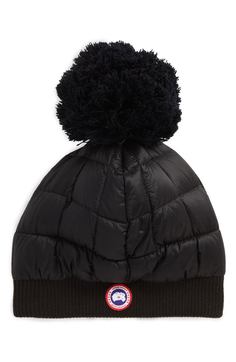 CANADA GOOSE Quilted Down Pom Beanie, Main, color, 001