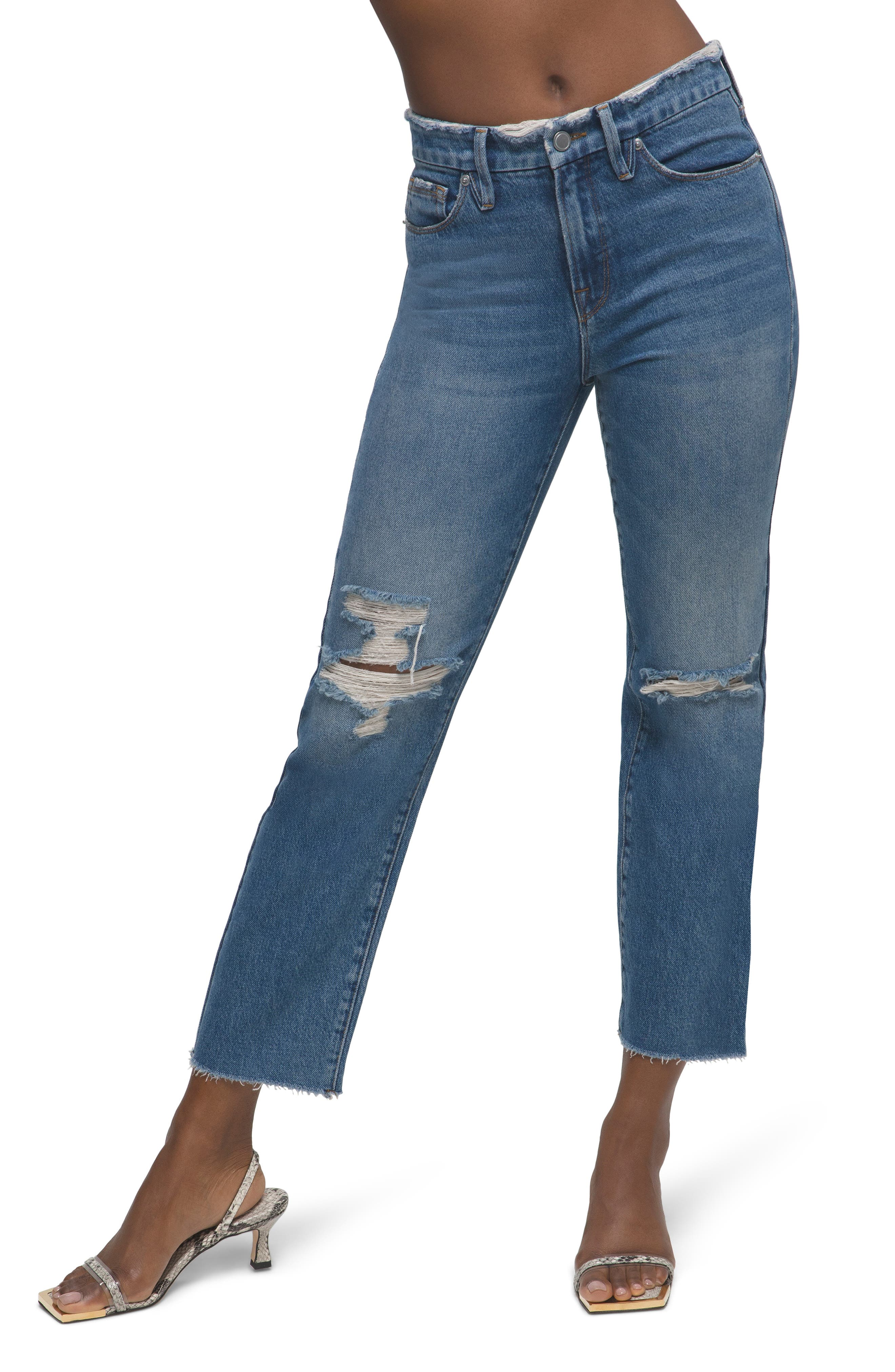 Distressed High Waist Frayed Jeans