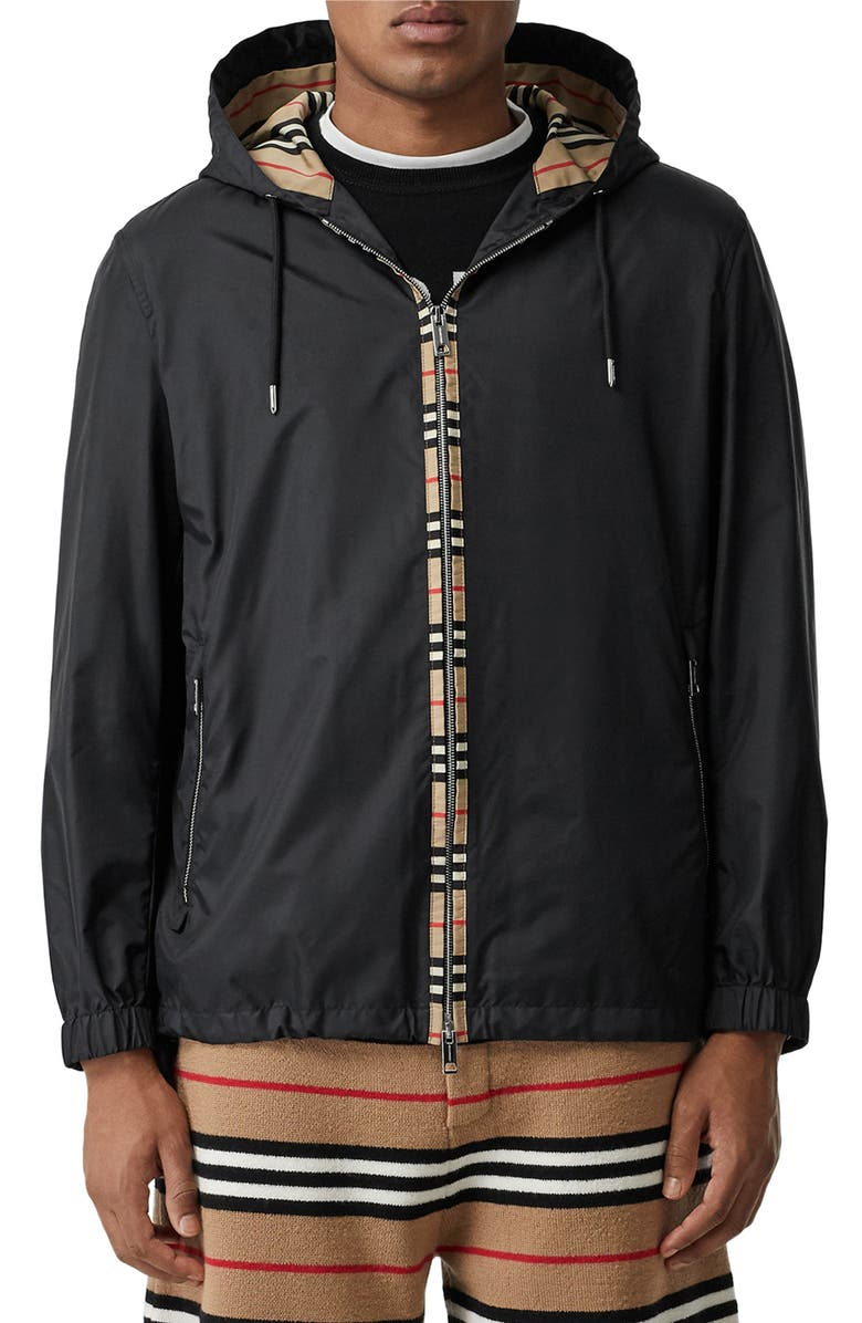 BURBERRY Everton Hooded Nylon Jacket, Main, color, BLACK