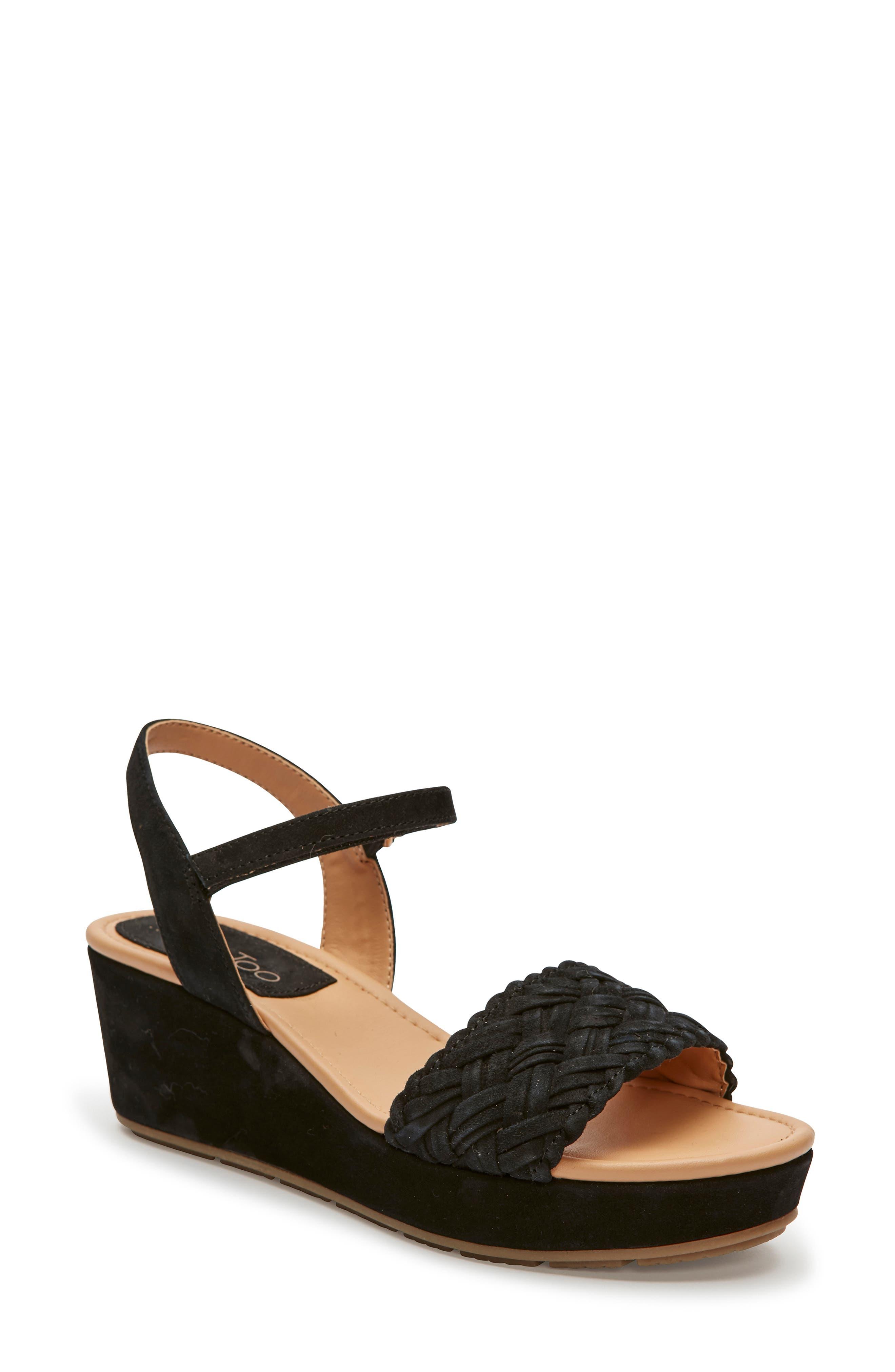 Abella Wedge Sandal, Main, color, BLACK SUEDE