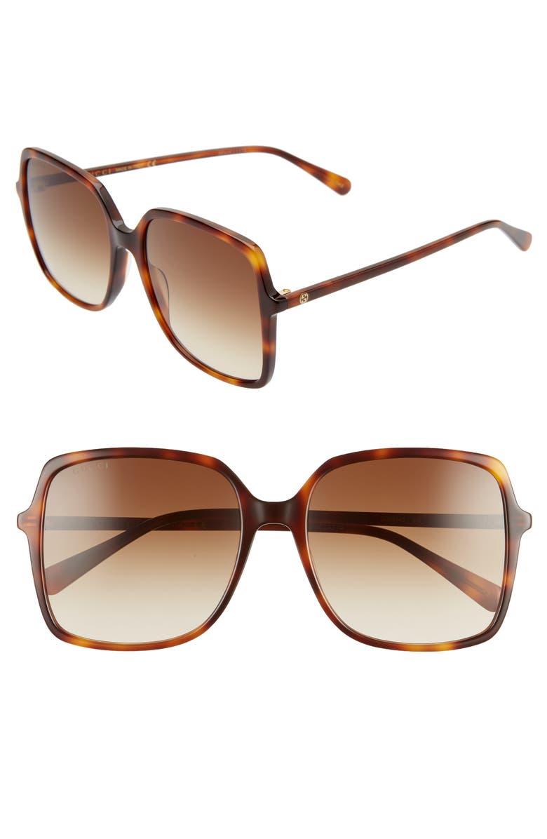 GUCCI 57mm Square Sunglasses, Main, color, HAVANA/ BROWN GRADIENT