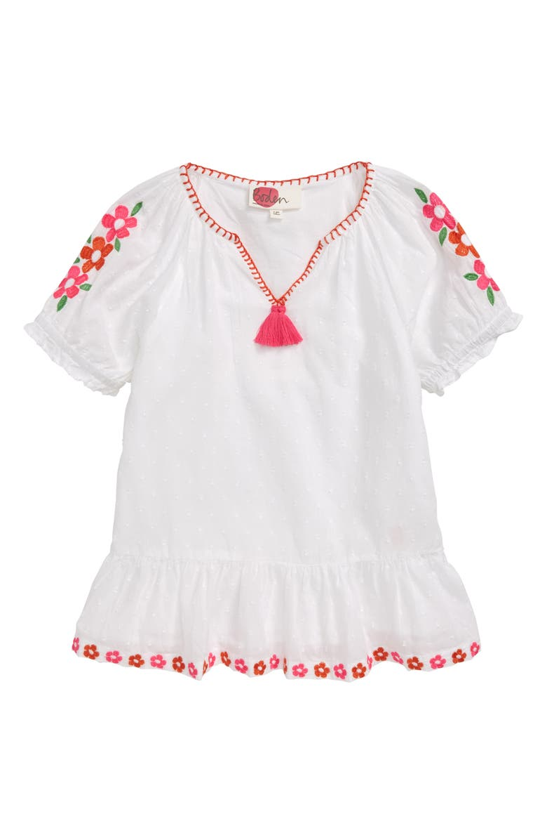 MINI BODEN Floaty Boho Embroidered Top, Main, color, WHT WHITE