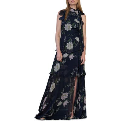 Ml Monique Lhuillier Ruffle Tiered Floral Print Gown, Blue