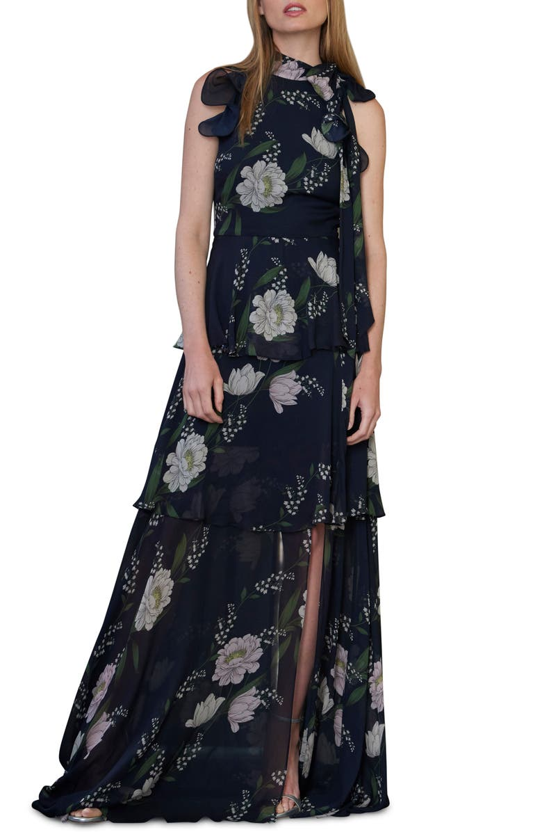ML MONIQUE LHUILLIER Ruffle Tiered Floral Print Gown, Main, color, NAVY MULTI