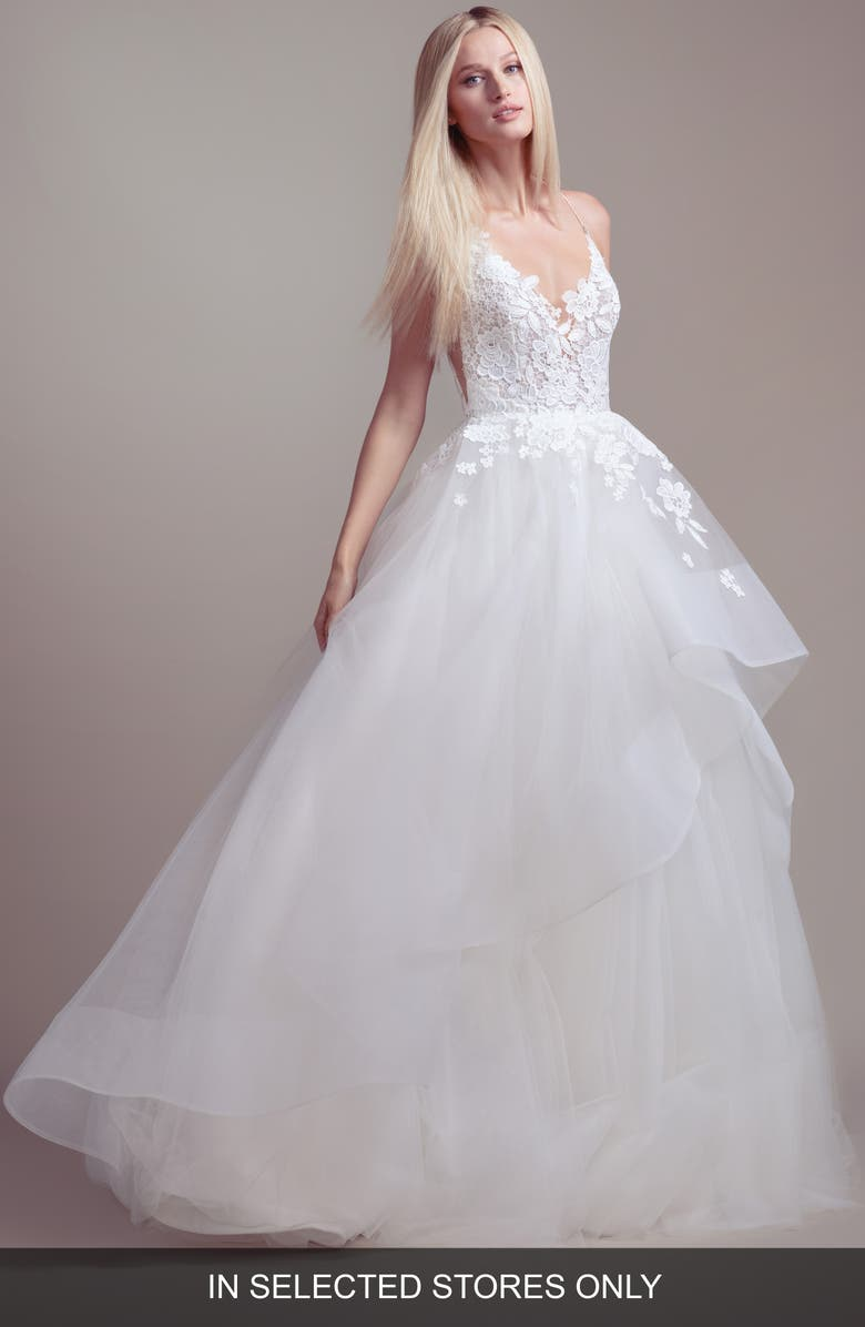 BLUSH BY HAYLEY PAIGE Clover Lace & Tulle Wedding Dress, Main, color, IVORY