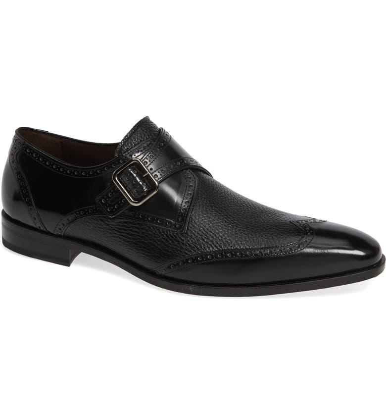 MEZLAN Senator Monk Strap Shoe, Main, color, BLACK
