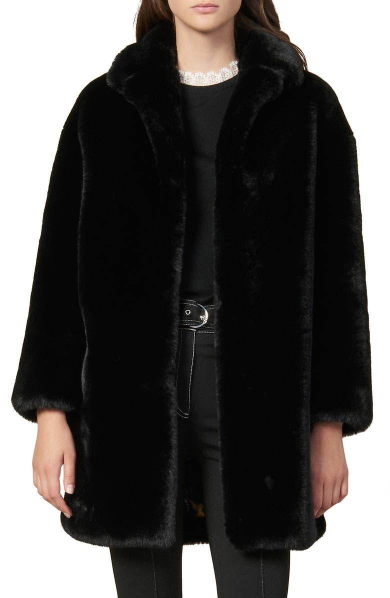 SANDRO Fany Faux Fur Coat, Main, color, BLACK
