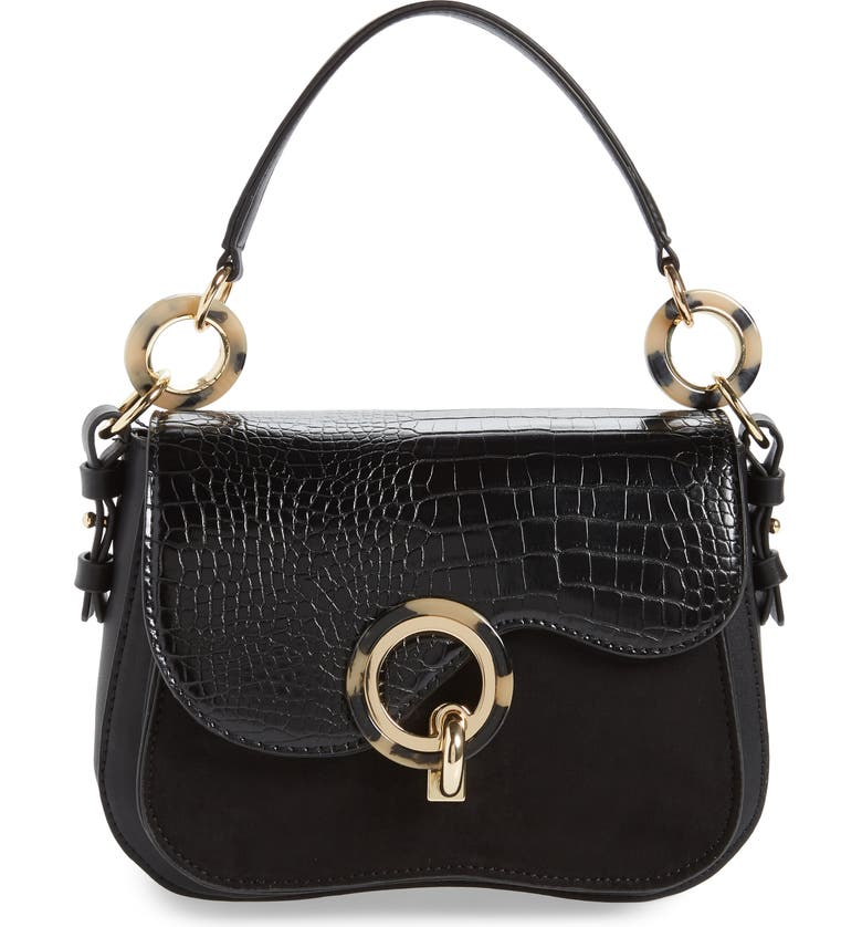 TOPSHOP Carlo Shoulder Bag, Main, color, BLACK