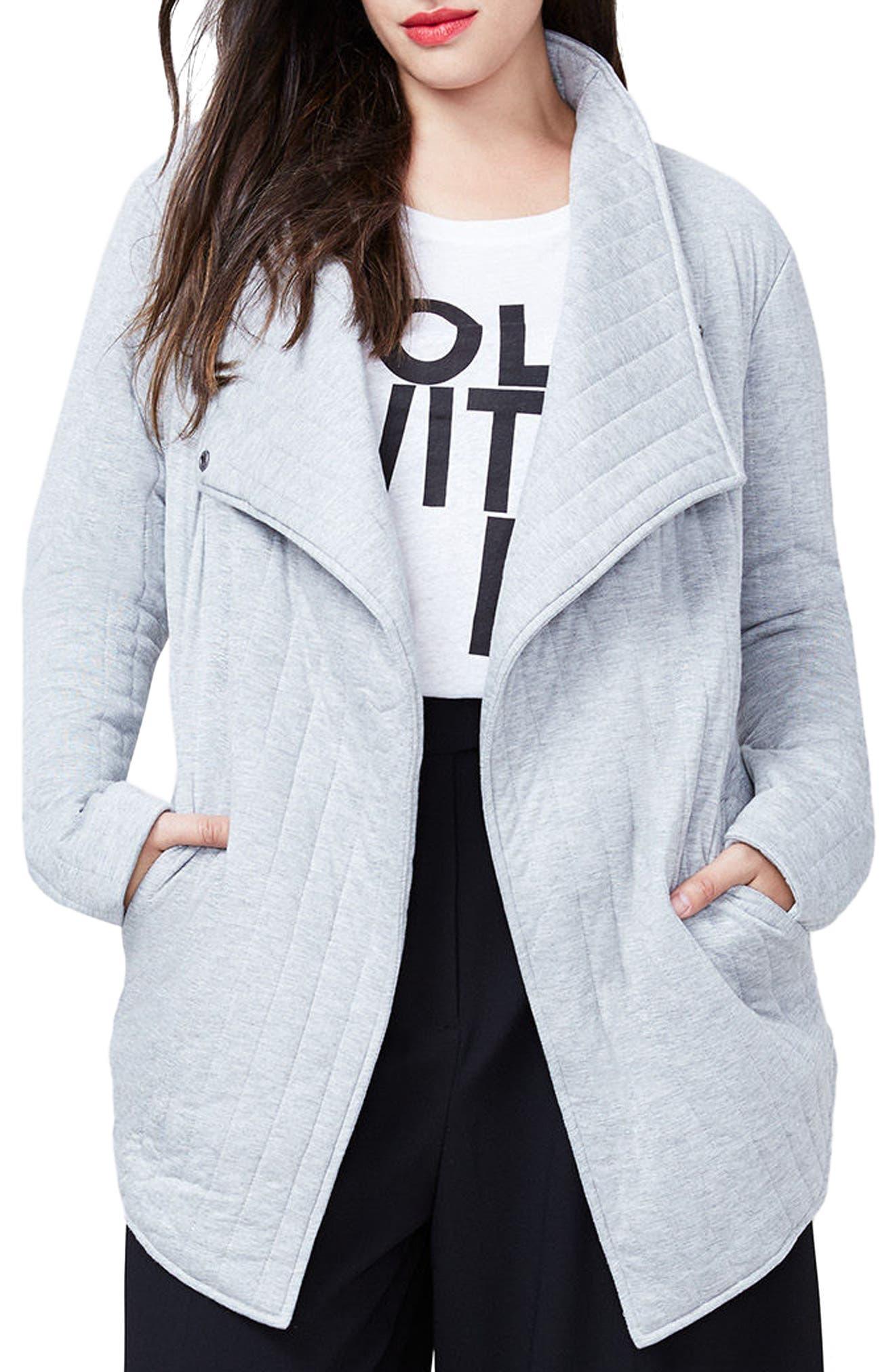 Large Rachel Rachel Roy Quilted Asymmetrical Jacket Grey