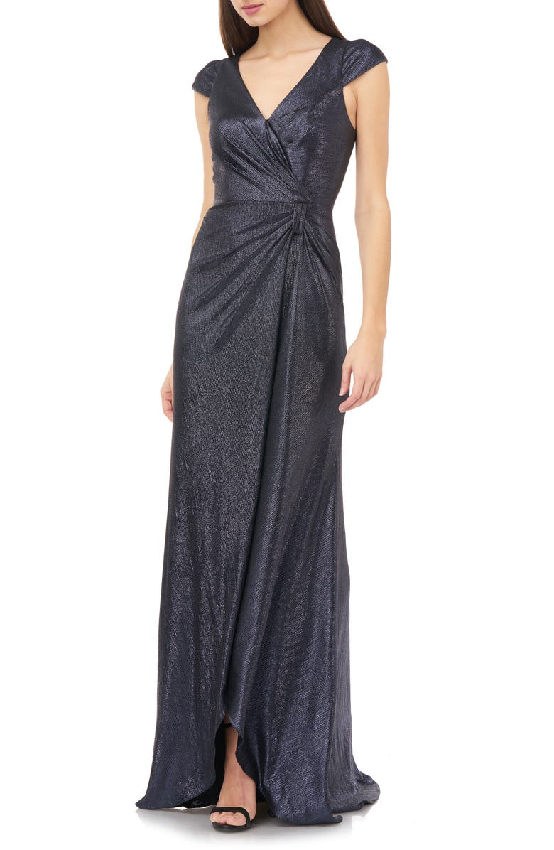 CARMEN MARC VALVO INFUSION Metallic Shimmer Faux Wrap Gown, Main, color, NAVY