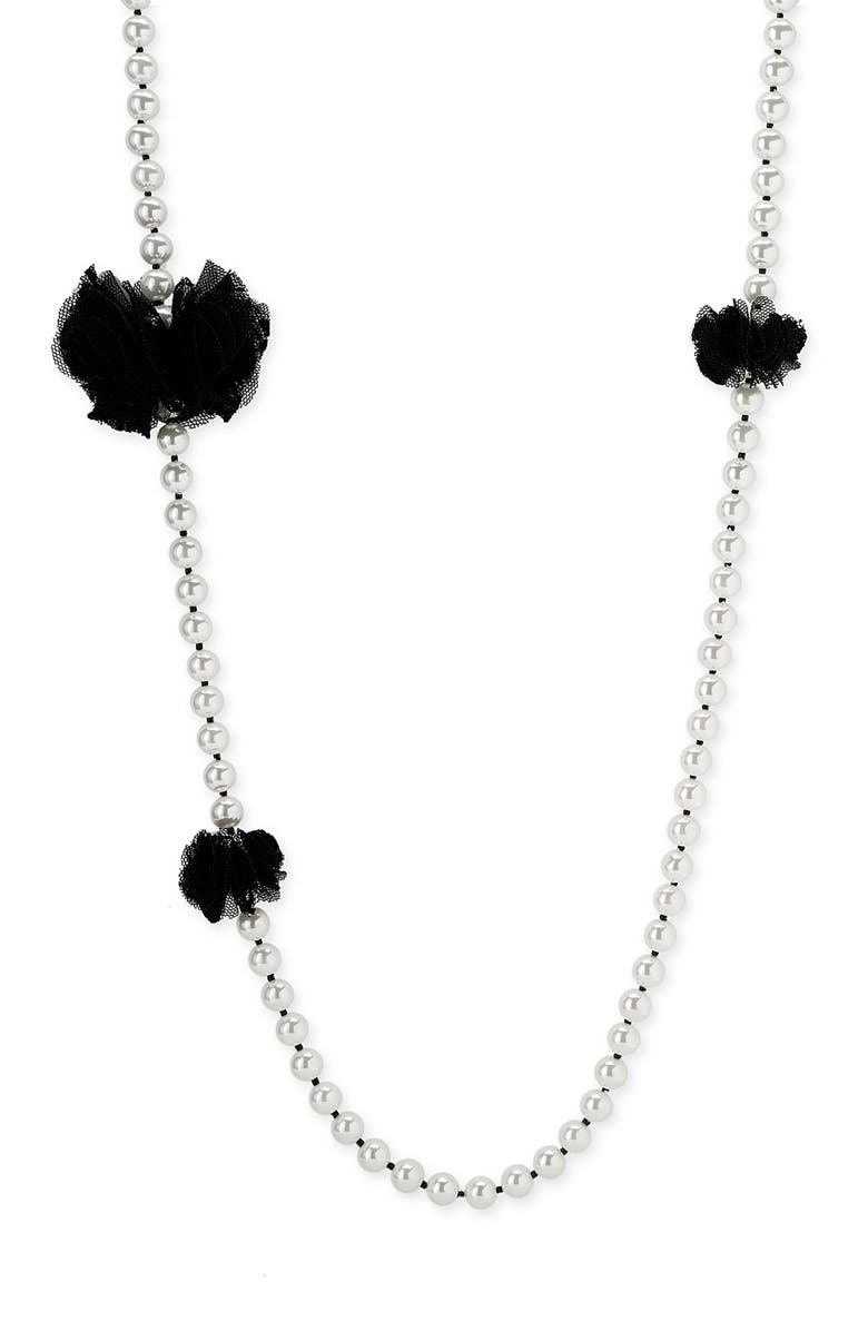 BETSEY JOHNSON 'School Girl' Tulle Trim Pearl Necklace, Main, color, 016