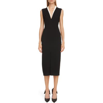 Victoria Beckham Contrast Collar Bonded Crepe Midi Sheath Dress, US / 16 UK - Black