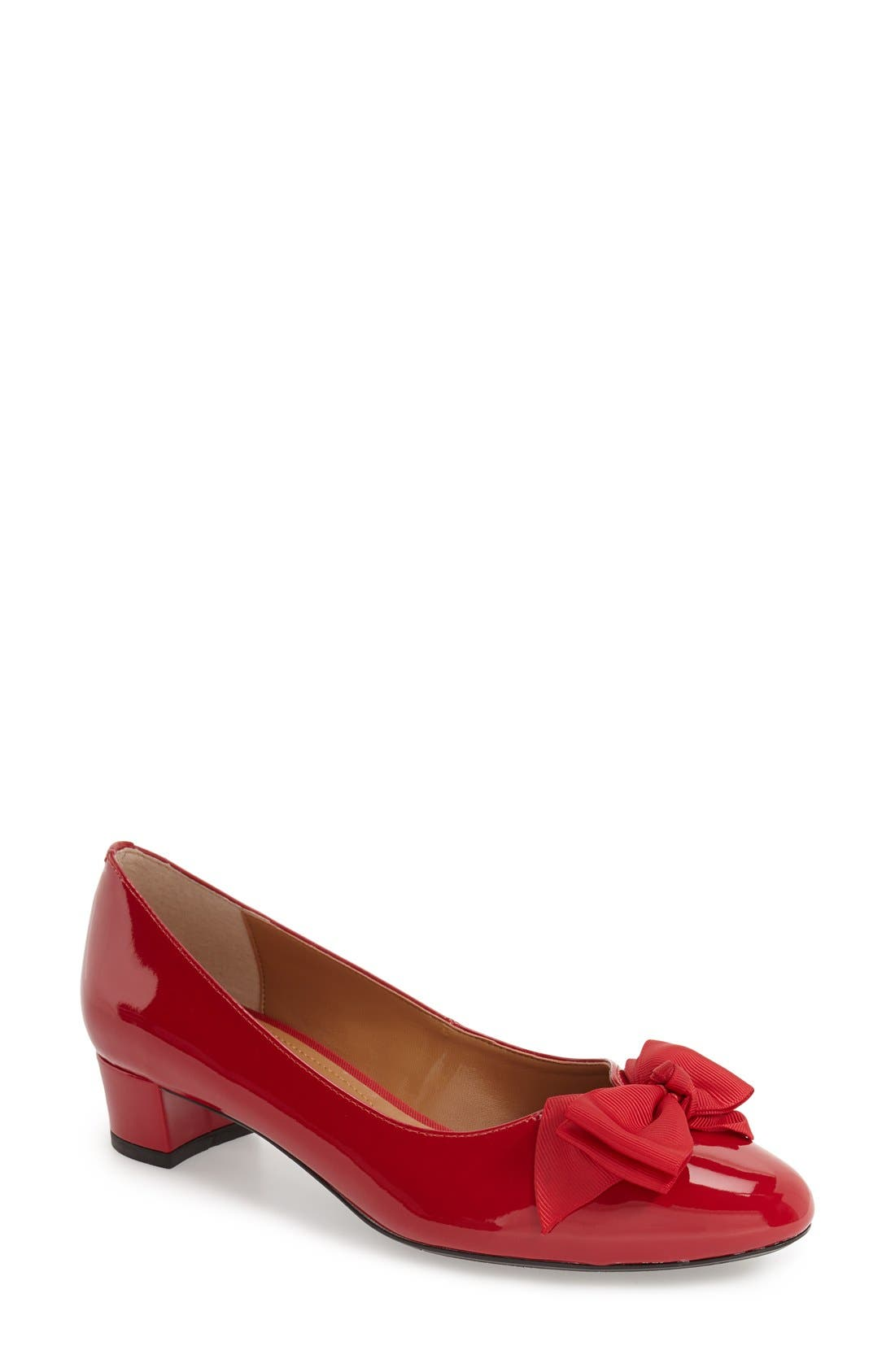 Rockabilly Shoes- Heels, Pumps, Boots, Flats Womens J. Renee Cameo Bow Pump Size 10.5 D - Red $89.95 AT vintagedancer.com