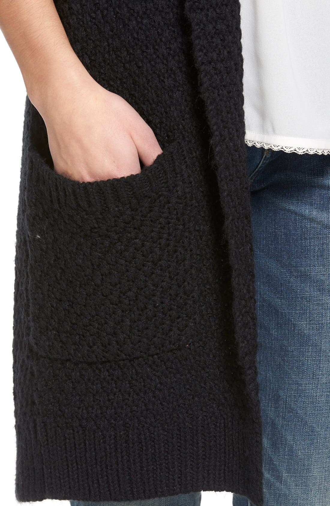 ,                             Marled Long Open Front Cardigan,                             Alternate thumbnail 2, color,                             001