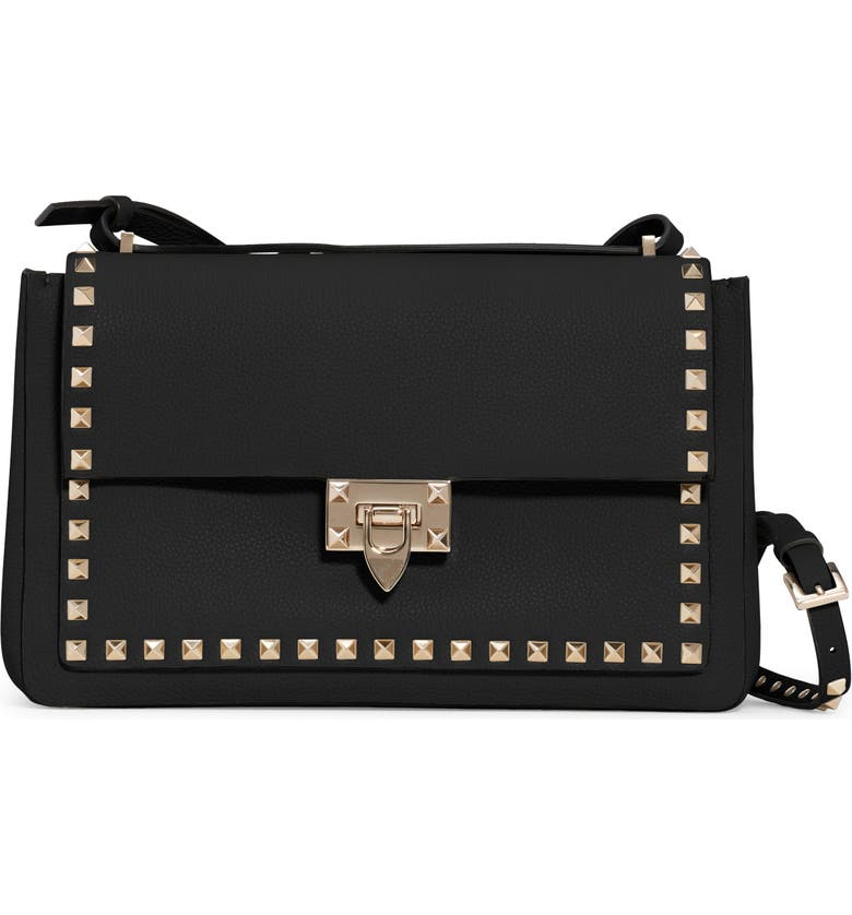 VALENTINO GARAVANI Rockstud Leather Shoulder Bag, Main, color, NERO